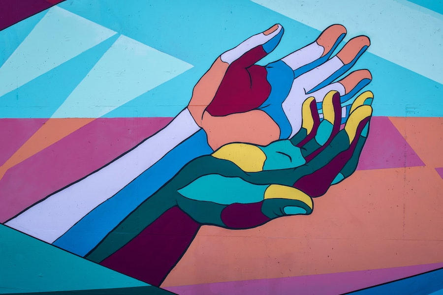 support, share, hands, paint